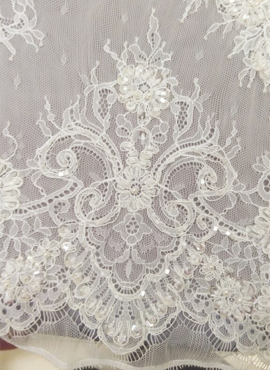 Luxury Bridal Dress Lace Material 3yards Pc Embroidery Sequins Heavy Wedding Beaded Fabric For Formal In From Home Garden On