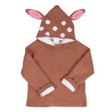 Baby Boys Girls Sweaters Knit Cotton Cardigan Deer Ear Hooded Dot Print Sweaters 2016 INS Hot Thick Winter Clothing 12M-5Y GW50