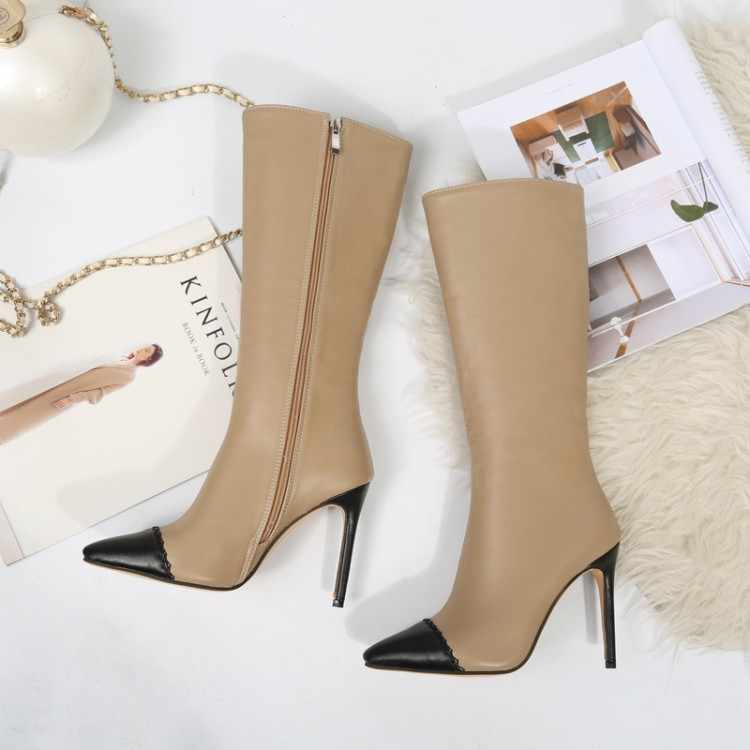 Große Größe 9 10 11-15 oberschenkel hohe stiefel kniehohe stiefel über das knie stiefel frauen damen stiefel nähte farbe seite zipper