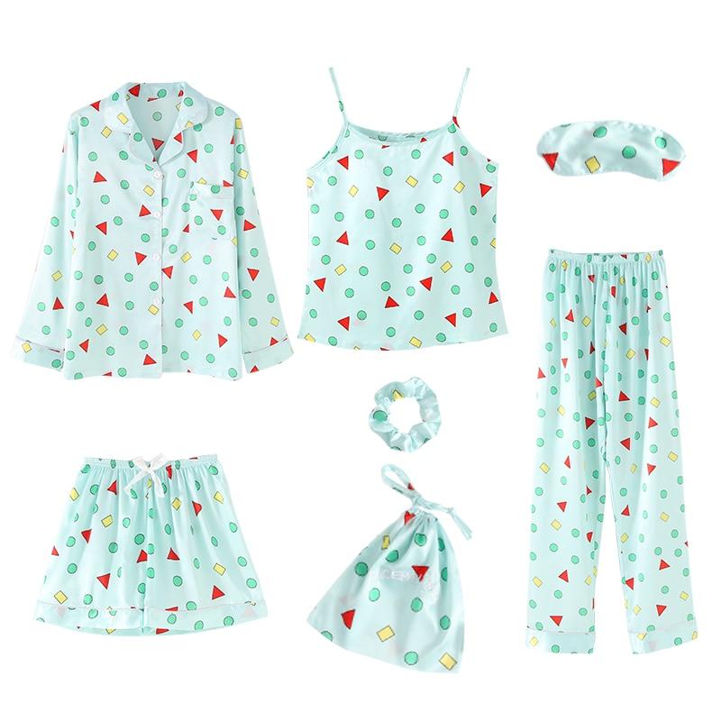 2019 Spring Summer Autumn 7 Pieces Set Elegant Silk Women Pajamas Print Shorts Long Sleeve Top Elastic Waist Pants Lounge Robe
