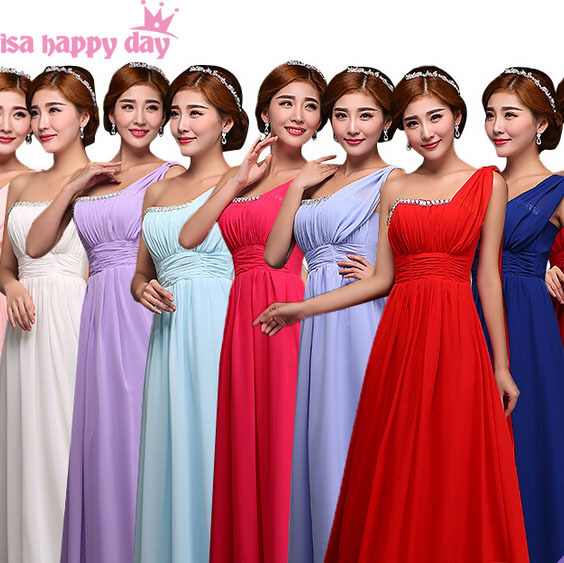 71a674ec1b3 plus size long dark red chiffon one shoulder special occasion dresses with  beads hot pink bridesmaid dress formal gown B2000