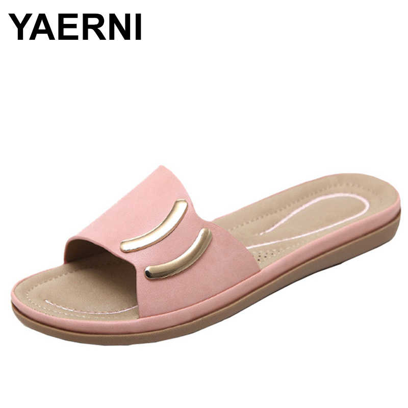 YAERNI 2019Fashion Women Flat Sandals Flips Flops Womens Casual Leather Sandals Shoe E958