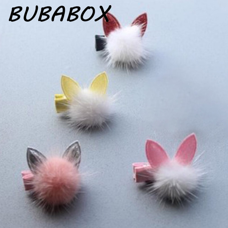 1 PCS Lovely Rabbit Ear Hair Ball Baby Hairpins Kids Hair Clips Princess Barrette Children Headwear Girls Hair Accessories baby cute style children accessories hairpins rabbit fur ear kids girls barrette lovely hair clip