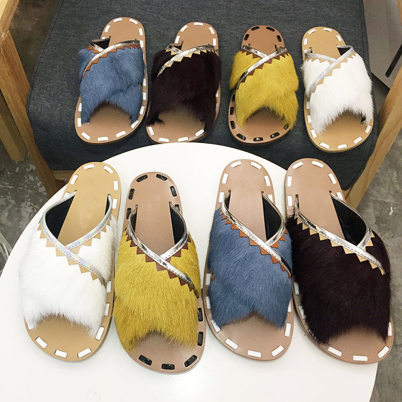 Casidueho Fashion Fur Women Slippers Summer Gladiator Sandals Women Flats Casual Shoes Woman Slip On Slides Open Toe Sandalias black flat casual designer sandals women luxury 2017 summer slip on embellished pearl soft slippers slides shoes open toe metal