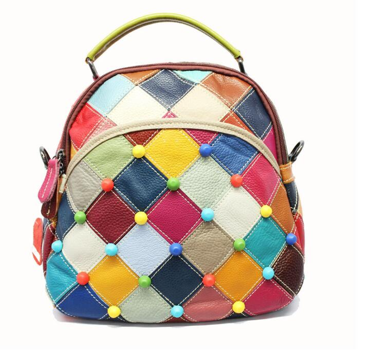 2018 New Color Block Patchwork Women's Cow Backpack Genuine Leather Multinational Bag Lady School Bag Casual Backpack Plaid Dots color block plaid dress