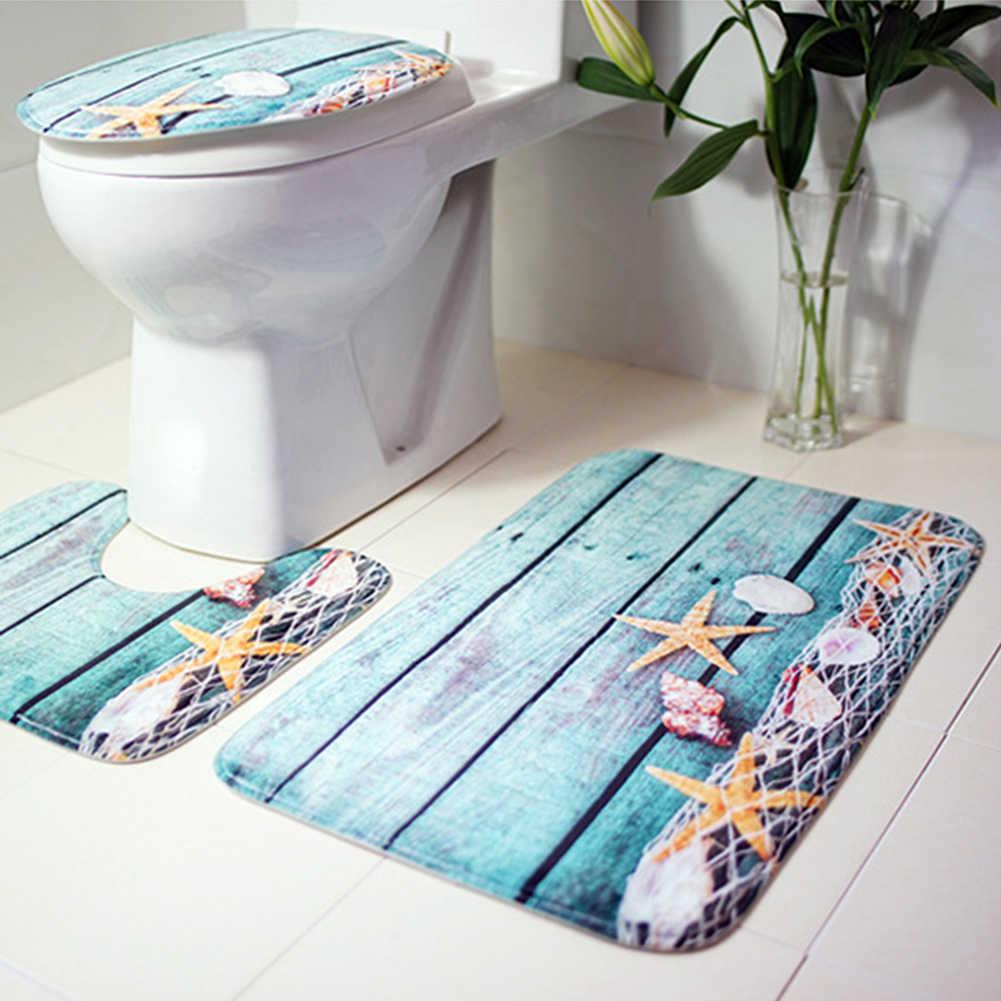 3 ชิ้น Bath Mats ห้องน้ำพรม Ocean Underwater World Anti Slip ห้องน้ำรูปแบบ Flannel สุขาที่นั่งชุด