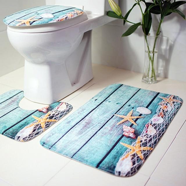 3Pcs Bath Mats Bathroom Carpet Ocean Underwater World Anti Slip Toilet Pattern Flannel Toilet Seat Cover Set