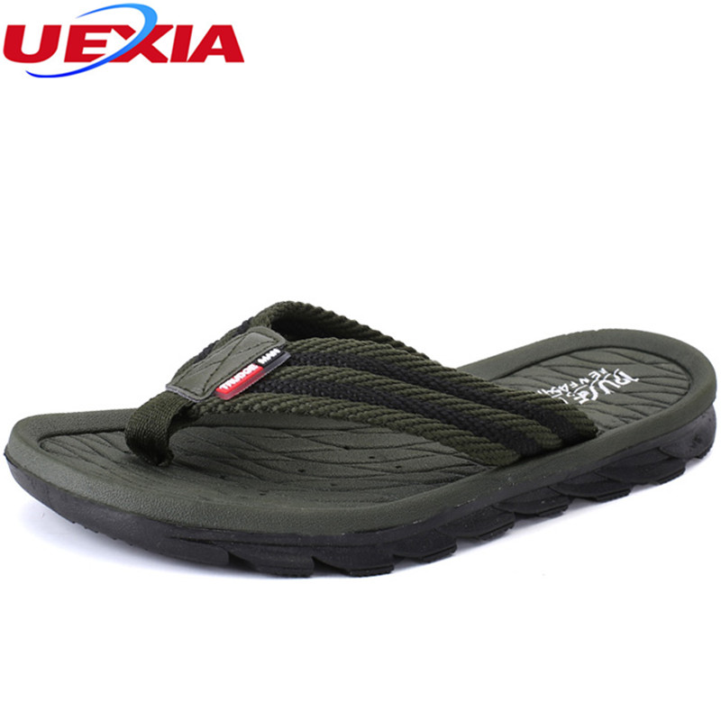 UEXIA New Outdoor Slippers Fashion Flip Flops With Soft Sole Trendy Easy To Match Men Summer Shoes Beach Breathable Light Casual 2016 summer new men s massage sole flip flops personality simple slippers breathable fashion beach shoes size 40 44 b1953