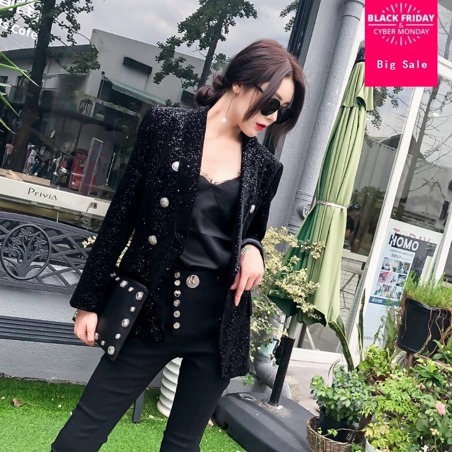 Était Slim Petit Parfum L1365 Outwear Costume Mince Veste À Blazer Black Décontractée Double Femmes Manteau Longues Bouton Mode Automne Manches cn8xW0UP