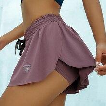 CretKoav קיץ מכנסי ריצה נשים 2 ב 1 מרתון מהיר יבש מכנסיים קצרים כושר Loose ספורט מכנסיים לנשימה מכנסי יוגה