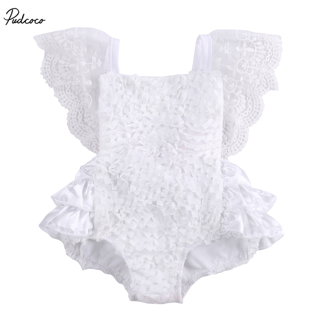 Cute Baby Girls Lace Floral Cake   Romper   Sleeveless Ruffle Jumpsuit Backless Bow Tie Sunsuit Outfits