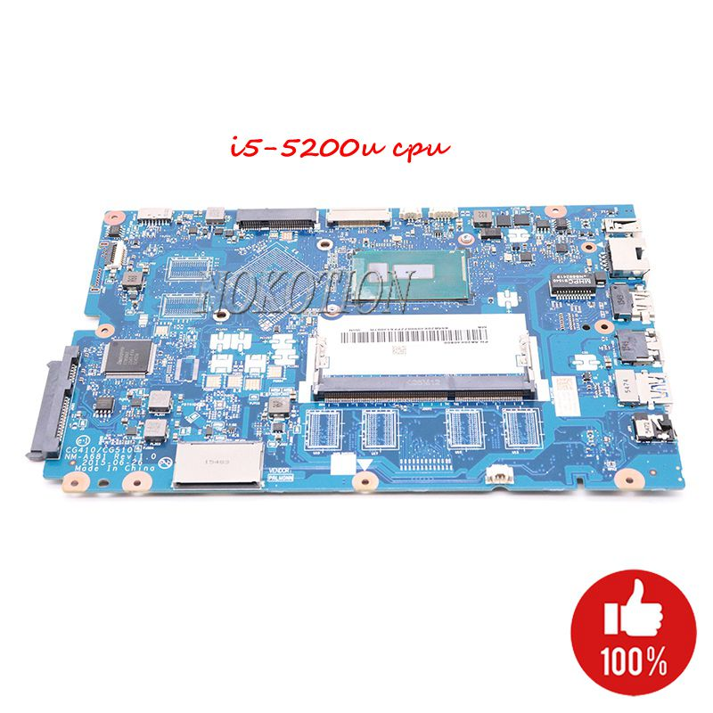 NOKOTION Mainboard For Lenovo Ideapad 100 15IBD Laptop motherboard CG410 CG510 NM A681 I5 5200U SR23Y