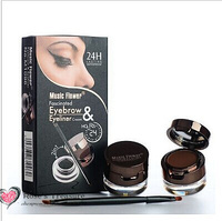 Makeup Kit 2in1 Black Brown Waterproof Eyeliner Gel Eyebrow Powder With Brush Delicate And Cabinet