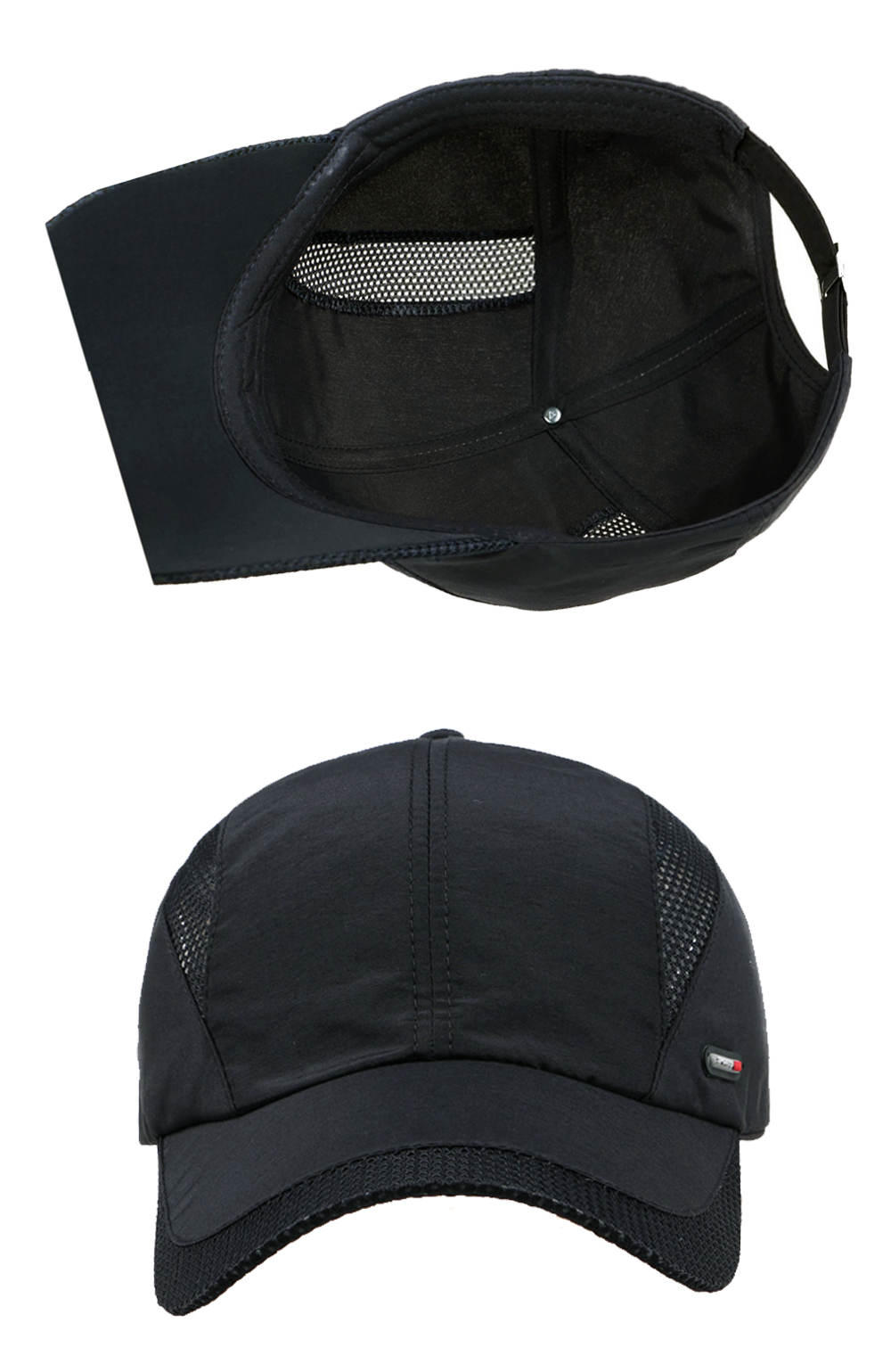 Cool Comfort Breathable Quick Dry Cap - Black Cap Inside and Front Views