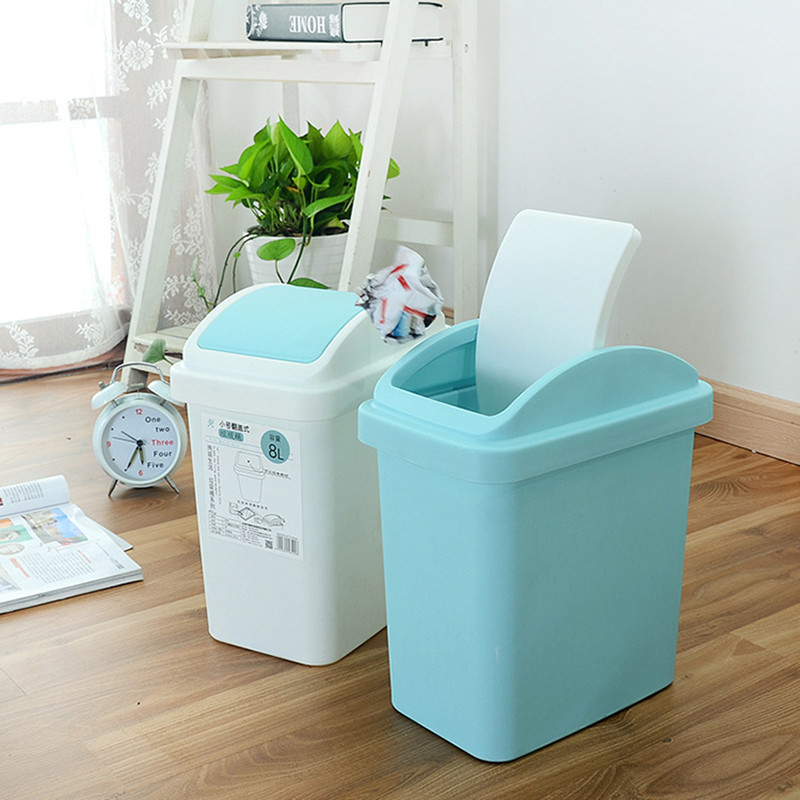 New Living Room Kitchen Bathroom Trash Can Fashion Household Trash Cans Clean Garbage Bucket Plastic Rolling Cover Trash Bin