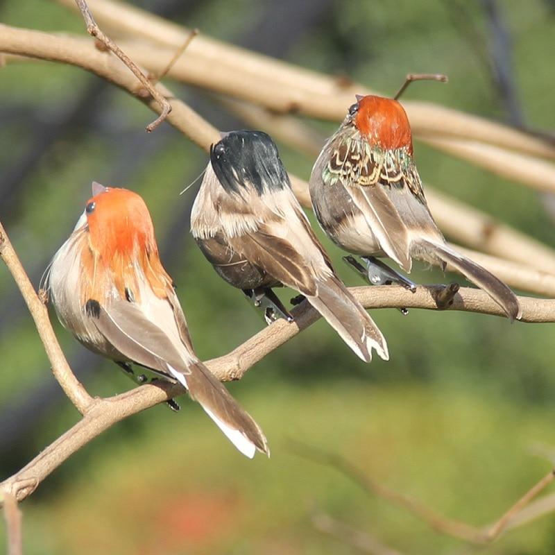 Foam Feather Artificial Birds Vividly Sparrow Garden Emulation Decoration Xmas Tree Robin Home Outdoor Yard Ornaments Randomly