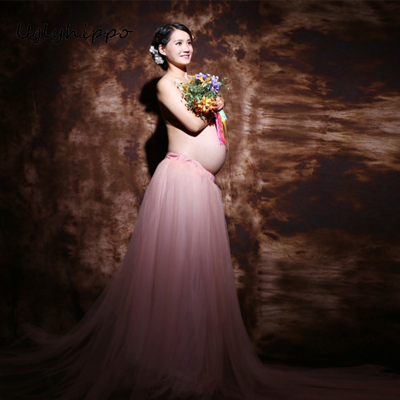 Maternity Pregnancy Elegant Fancy Gown White Lace Photography Props Long Skirt Photo Shoot MO59