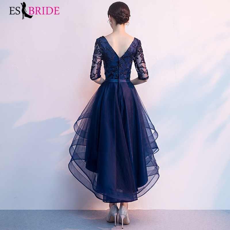 ロイヤルブルーロングイブニングドレス 2019 新着エレガントな A ラインカジュアルレースドレスパーティー正式な五分袖ローブ · ド · 夜会 ES1854