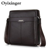 New Men's Small Bag 100% Genuine Leather Men Messenger Crossbody Bags For Man High Quality Cow Leather Mens Brown Shoulder Bags