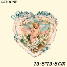 ZOTOONE Angel Iron-on Transfers Patch Heat For Clothing Iron on Flower Love Stickers Appliqued DIY Decoration D