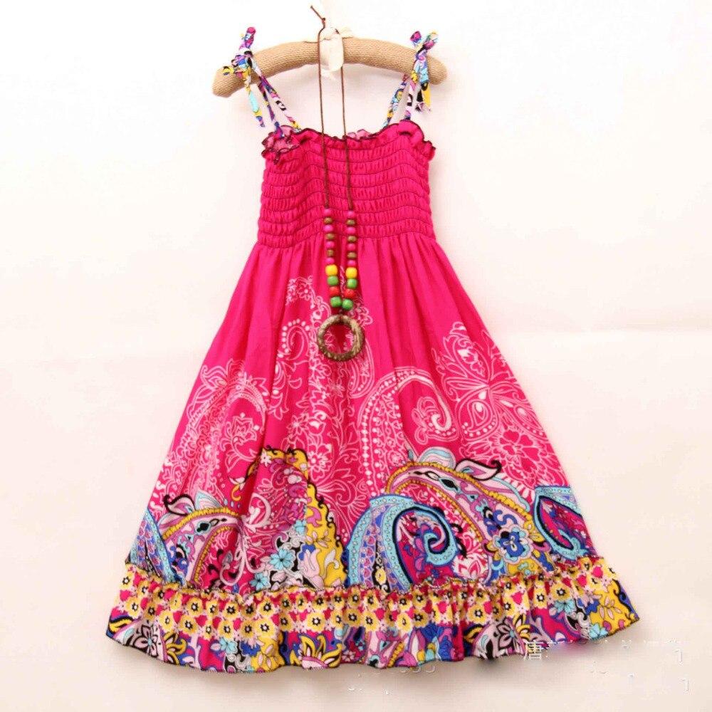Bosudhsou 2-7T! New Summer Girls Dress Fashion Knee-length Beach Dresses Girls Sleeveless Bohemian Children Clothing YL-1