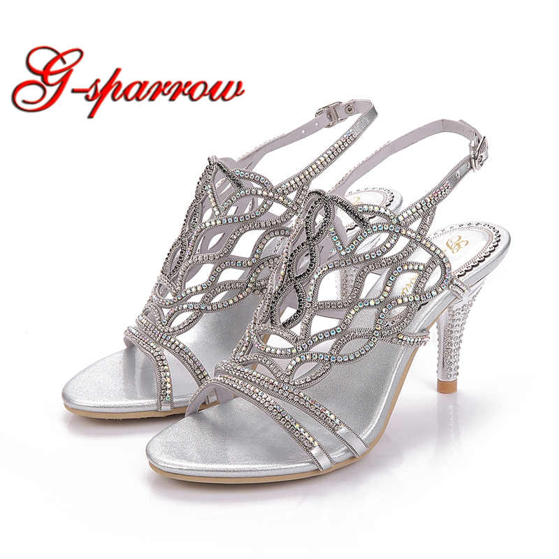 Wave Rhinestone Gladiator Stiletto Heel Sandals Bohemia Dress Shoes Cut-out Women Summer Sandal Graduation Party Prom Shoes все цены