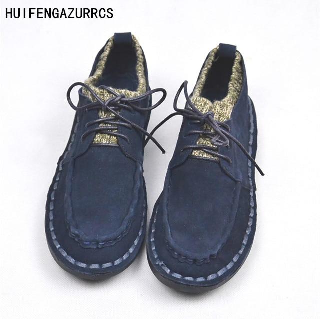 HUIFENGAZURRCS-Genuine Leather shoes,pure handmade casual shoes,the retro art mori girl Flats shoes,Female student fine shoes