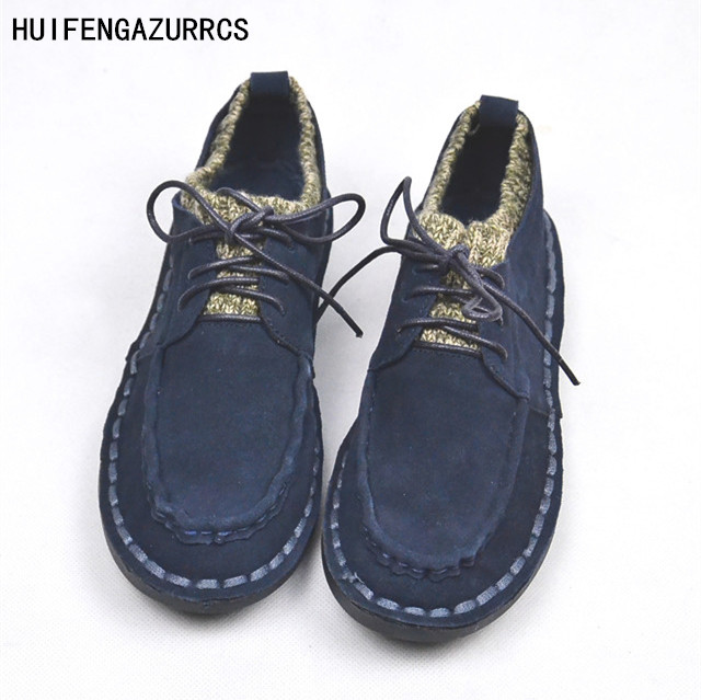 HUIFENGAZURRCS-Genuine Leather shoes,pure handmade casual shoes,the retro art mori girl Flats shoes,Female student fine shoes huifengazurrcs new genuine leather