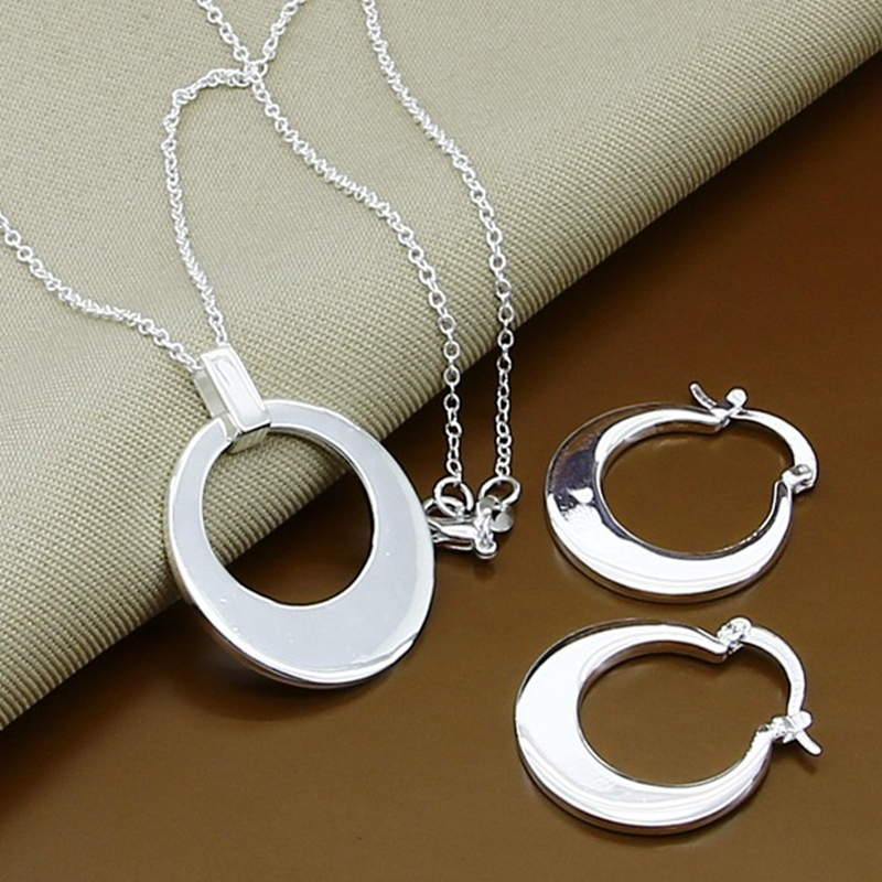 Silver Plated Love Lock Round Crescent Moon Pendant Necklaces
