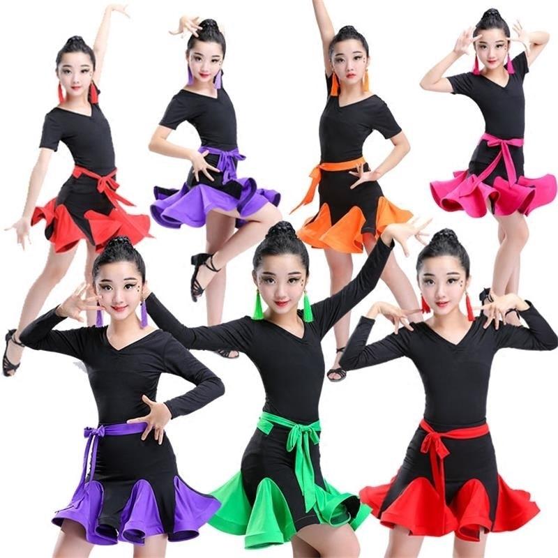 lace latin dance dress for girls latin salsa dress kids Sexy competition Ballroom Dresses Tango samba cha cha Children skirts