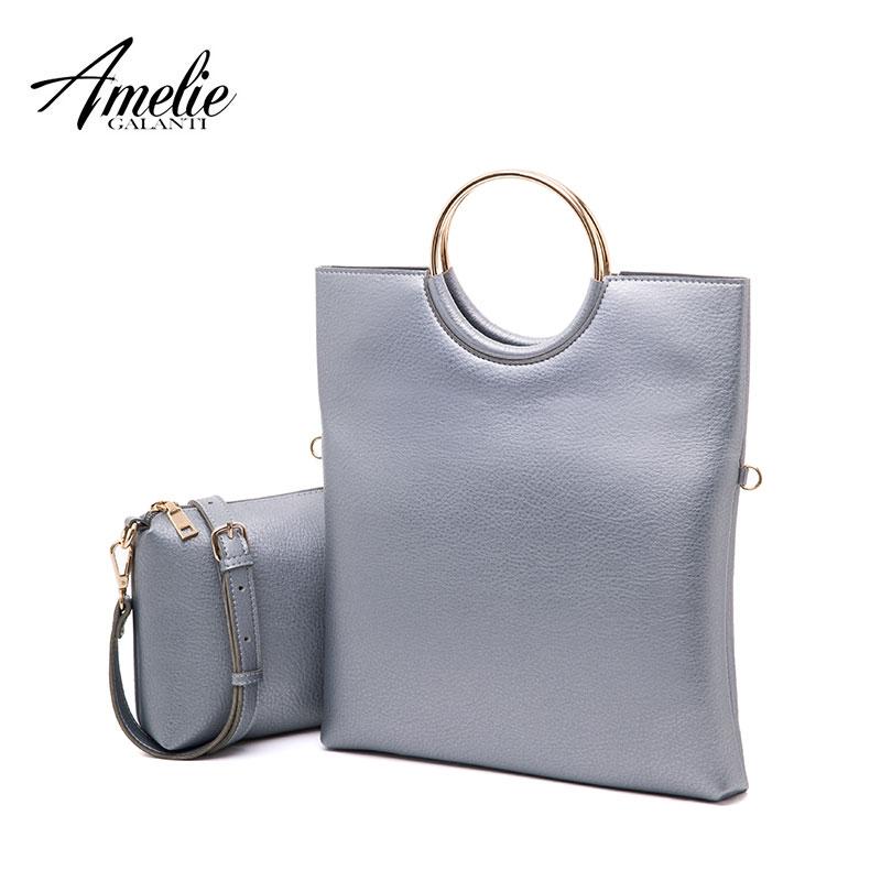 AMELIE GALANTI Women handbag composite bag fold over top handle metal circle fashion  solid middle size bag купальник amelie im68n41 imis