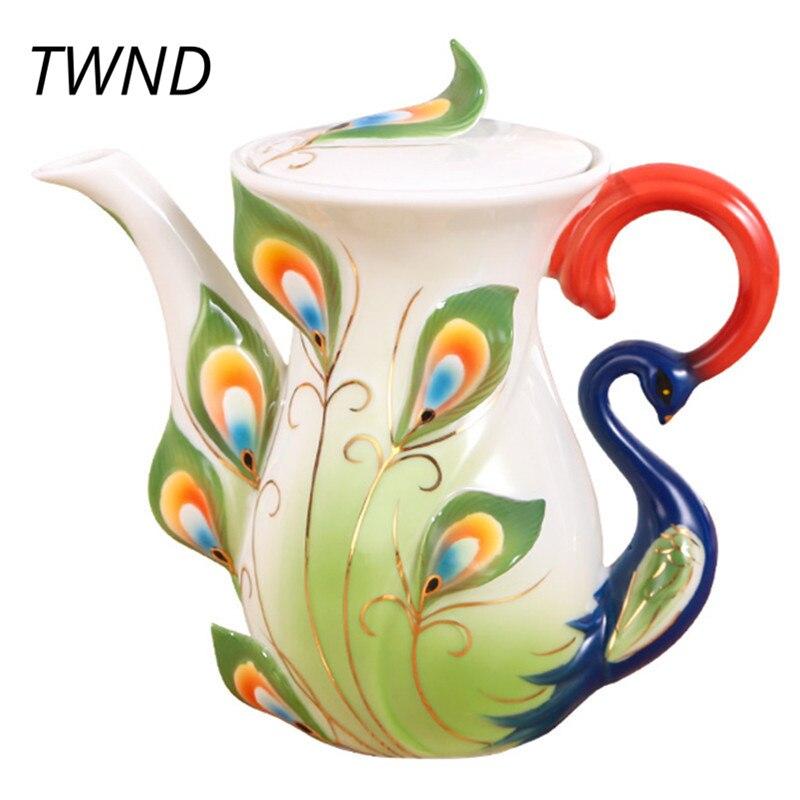 800CC العظام الصين الطاووس إبريق قهوة مع غطاء الإبداعية الشاي الحليب العظام غلاية المنزل مكتب Drinkware-في مجموعات أدوات القهوة من المنزل والحديقة على  مجموعة 1