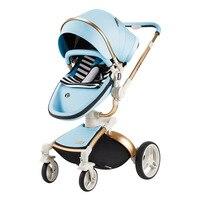 Детские коляски бренд детские из искусственной кожи коляски люльки новорожденных высокого пейзаж складной портативная детская коляска