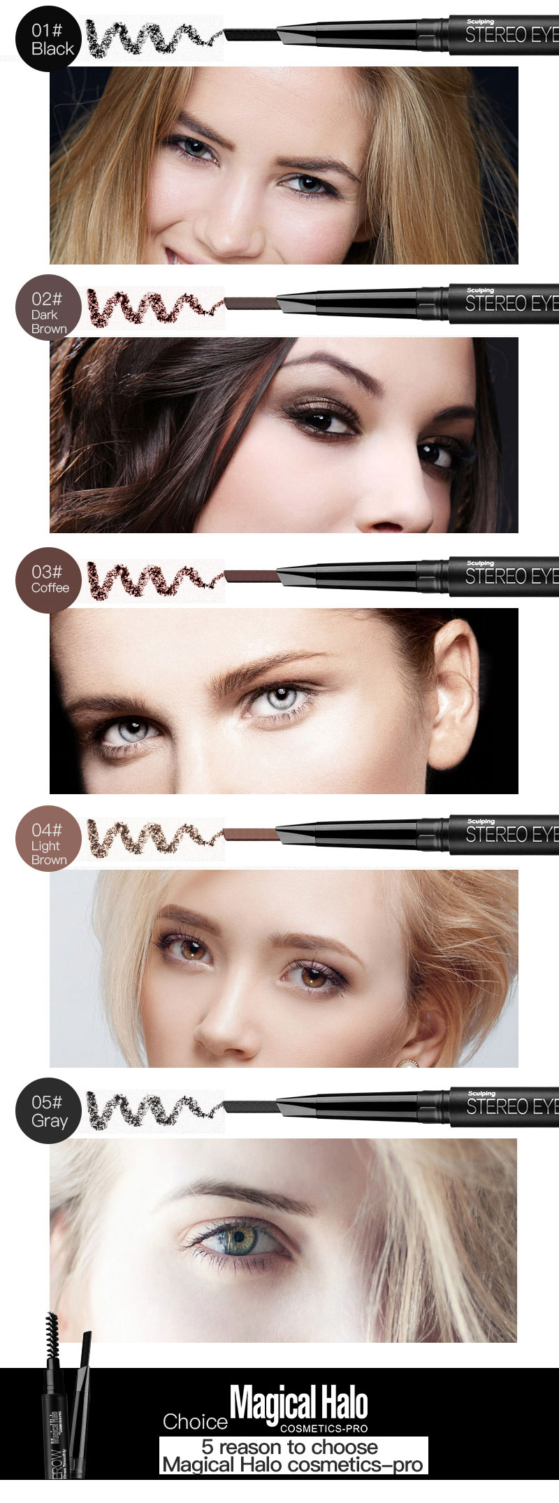 Magica Halo Automatic Eyebrow Pencil Paint for Eyebrow Shadow with Brushes Professional Black Grey Waterproof Eyebrow Pencil 3