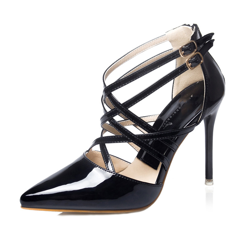 Fashion spring summer Pointed Toe Pump sexy with fine tip cross word buckle Rome style nightclub hollow shoes high heels