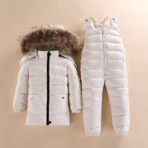 Image 3 - Nieuwe Stijl Kinderen Donsjack Baby Winter Ski Dragen Jongens En Meisjes Baby Winter Jas Baby Boy Parka Sneeuw Set warm