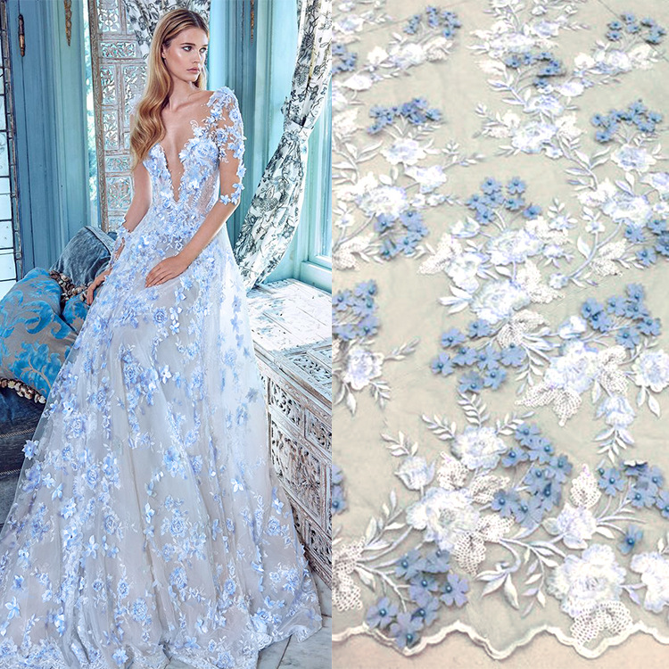 5yards high grade beads embroidered african lace fabric for wedding dresses 3D handmade flowers chiffon french lace mesh