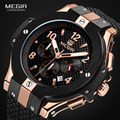 Спортивные часы MEGIR с хронографом, мужские креативные армейские военные кварцевые часы с большим циферблатом, мужские наручные часы, мужски...
