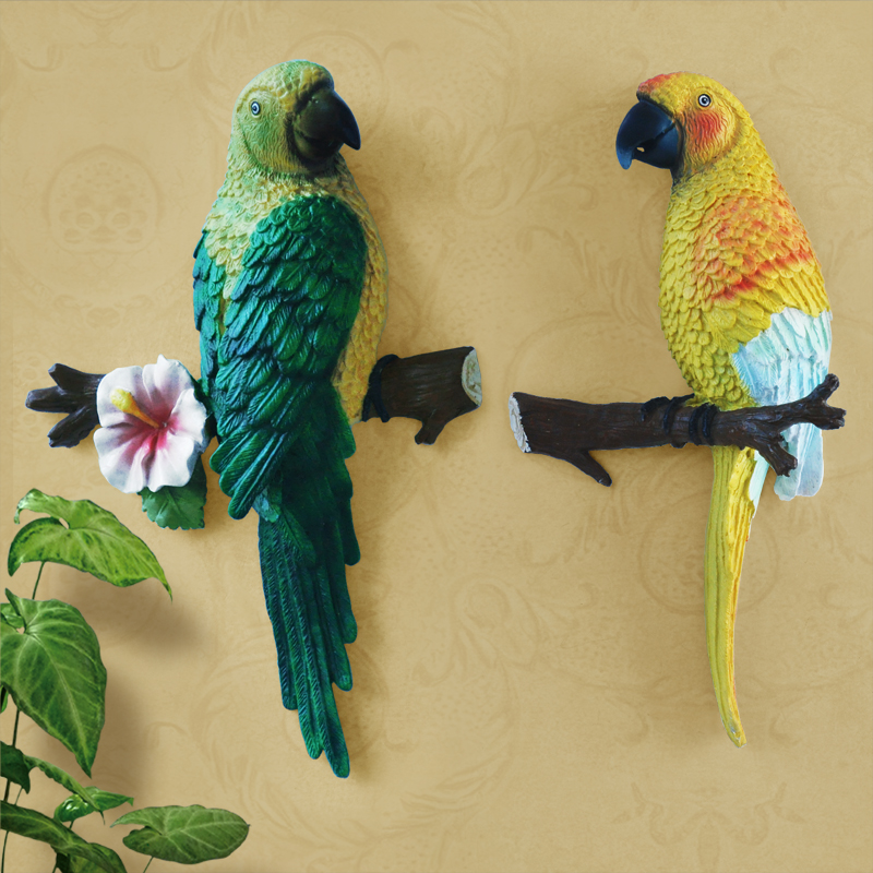 Meijswxj 3D Mural Art Stereo resin parrot wall decoration Ccreative ...