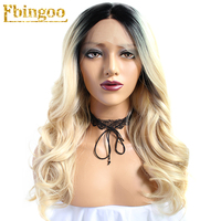 Ebingoo Long Body Wave Black Ombre Blonde High Temperature Fiber Peruca Wavy Synthetic Lace Front Wig For Women Costume