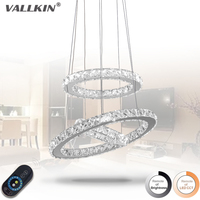Dimmable Modern LED Diamond Ring Pendant Light Chrome Mirror Finish Stainless Steel Room Hanging Lamp LED