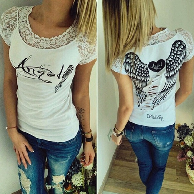 Women's T shirt Back Hollow Angel Wings T-shirt Tops Summer Style Woman Lace Short Sleeve Tops T shirts Clothing 3
