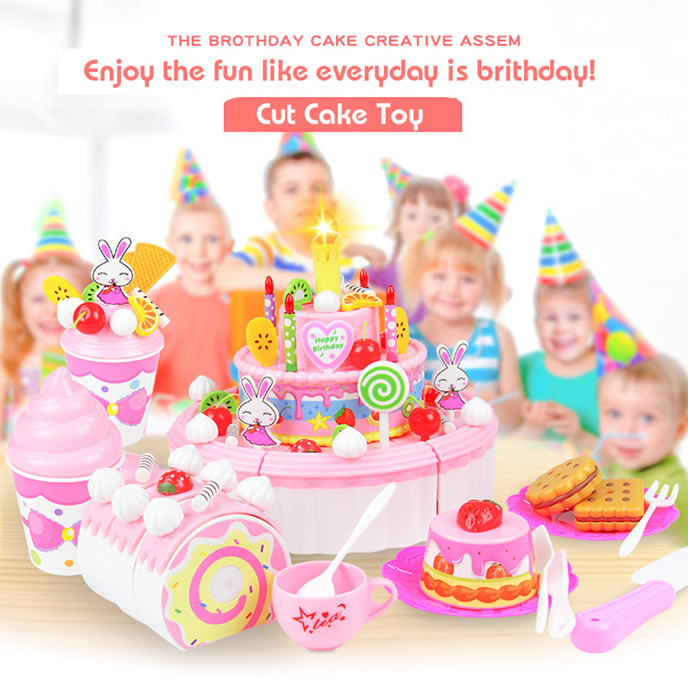103pcs Pretend Play Fruit Cutting Birthday Cake Can Sing Blow Kitchen Food Toys Children Educational Fruits Cut Food for Girls birthday cake