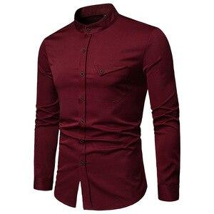 Image 2 - Mens Solid แมนดาริน 2019 เสื้อลำลอง SLIM FIT ไวน์แดงชุดเสื้อสำหรับชายขนาด Woke Tops Camisas social Masculina
