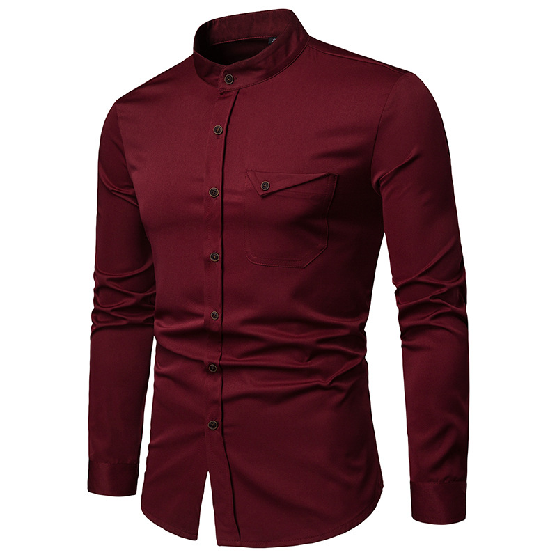 Image 2 - Mens Solid Mandarin Collar Shirt 2019 Casual Slim Fit Wine Red Dress Shirts For Men Plus Size Woke Tops Camisas Social MasculinaCasual Shirts   -