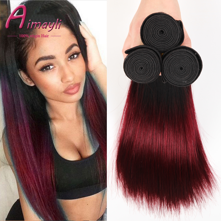 7A Ombre Brazilian Hair Weave Bundles 1B Burgundy Brazilian Virgin Hair Straight Queen Hair Red Ombre
