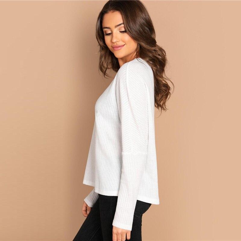 Camiseta de mujer blanca de manga larga y cuello redondo Paraíso de la Moda | PdM