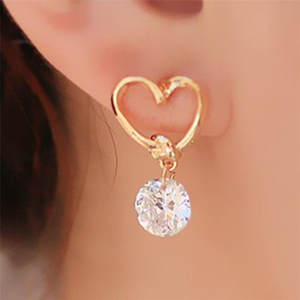 Stylish Jewelry hot sale Women's Heart Shaped Ear Pins Zircon Eardrop Crystal Earrings Zircon For Woman Accessories Best Gift #1