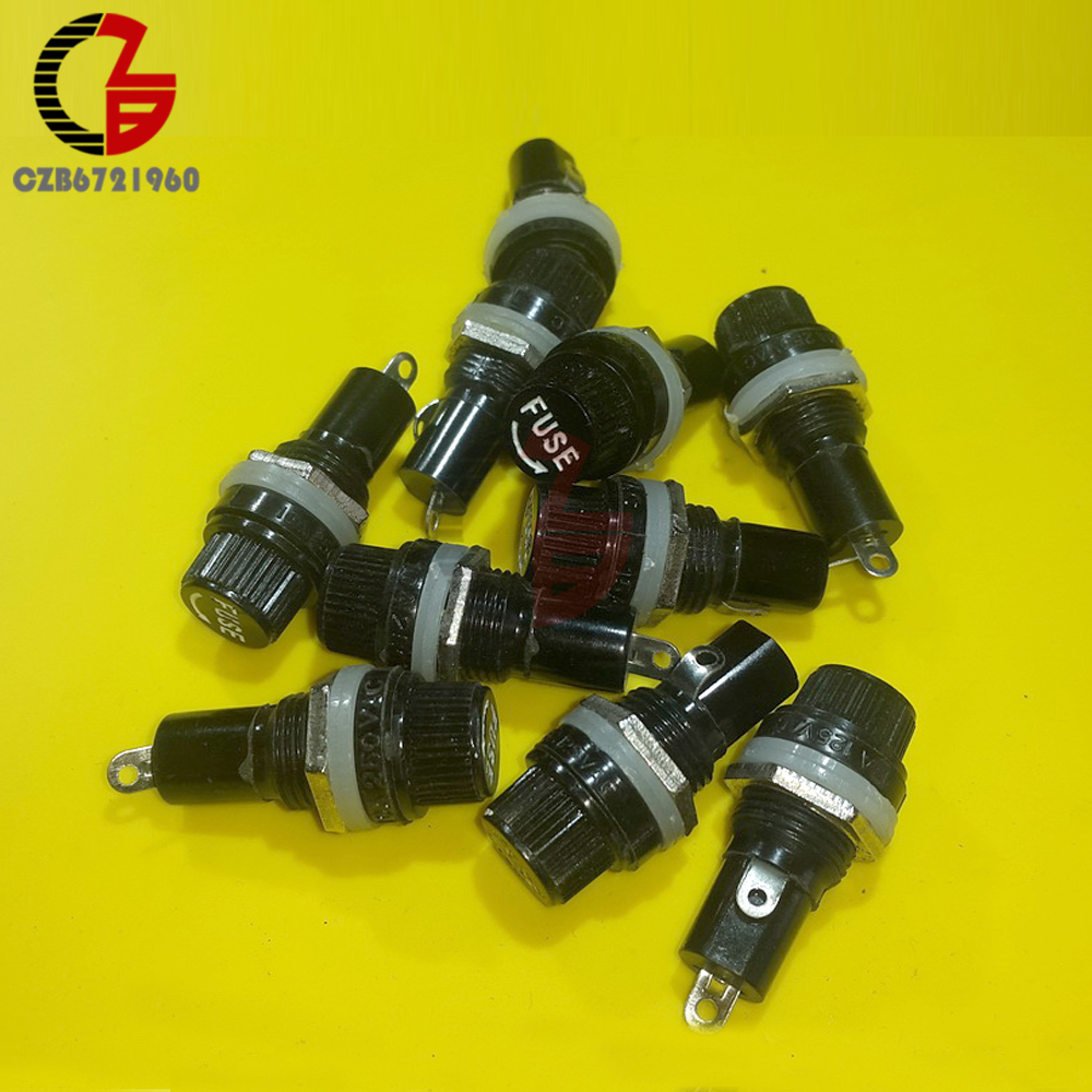 10pcs 5*20mm Fuse Holders 5X20 Black Insurance Tube Socket Fuse Holder For 5*20 Insurance Panel Mount Fuse Holder