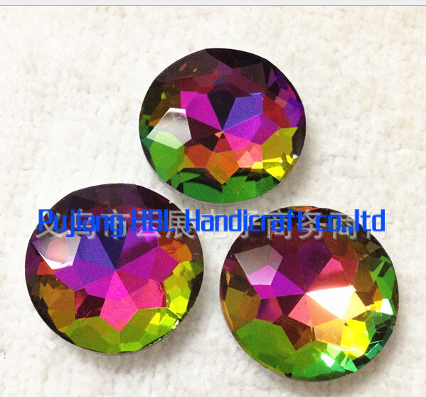27mm 44pcs Rainbow Colour Crystal Round Flower Shape Fancy Strass Stone Sewing Garment Beads
